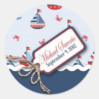 Ships Ahoy! Baptism Sticker_Michael Saverio 2 Round Sticker