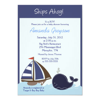 Ships Ahoy Blue Whale 5x7 Baby Shower Invitation