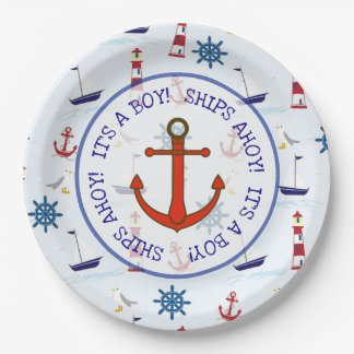 Ships Ahoy Its a boy, Nautical Oceanic Baby Shower Paper Plate