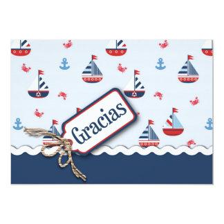 Ships Ahoy! TY Card_Spanish 13 Cm X 18 Cm Invitation Card