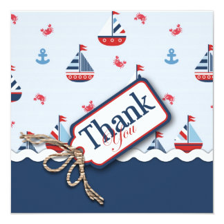 Ships Ahoy! TY Square 2 5.25x5.25 Square Paper Invitation Card