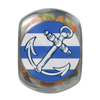 Ships Anchor Blue Stripes Jelly Belly™ Glass Jar