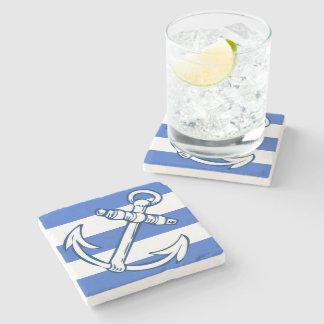 Ships Anchor Blue Stripes Stone Coaster