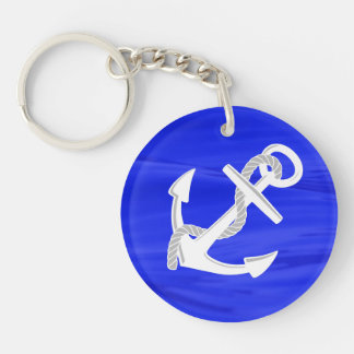 Ship's Anchor Double-Sided Round Acrylic Key Ring