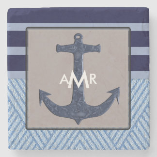 Ship's Anchor & Navy Blue Stripes, Nautical Stone Coaster