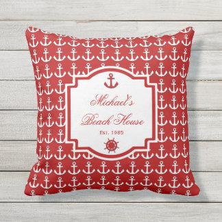 Ships Anchor Red Nautical Monogram Outdoor Pillow