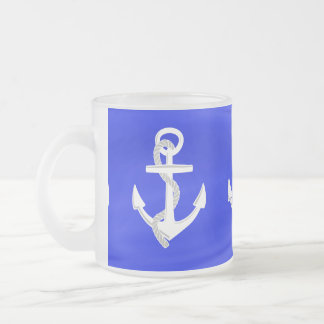 Ship's Anchors Frosted Glass Coffee Mug