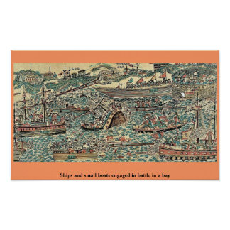 Ships and small boats engaged in battle in a bay print