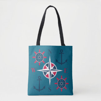 Ship's Helm Anchors Compass Navy Red Teal Tote Bag