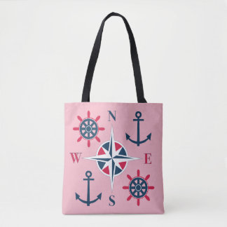 Ship's Helm Anchors Compass Navy Strawberry Red Tote Bag
