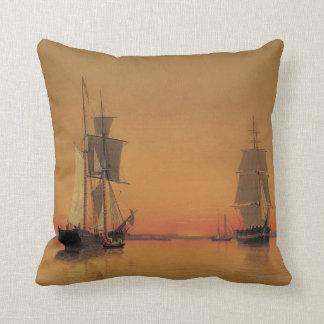 Ships in Boston Harbor at Twilight Pillow