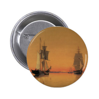Ships in Boston Harbor at Twilight Pinback Button