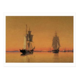 Ships in Boston Harbor at Twilight Postcards