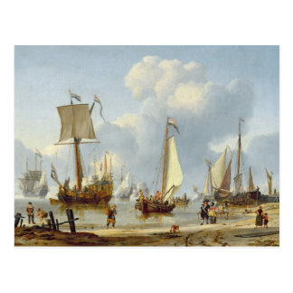 Ships in Calm Water with Figures by the Shore Postcard