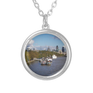 Ships on the Thames. Silver Plated Necklace