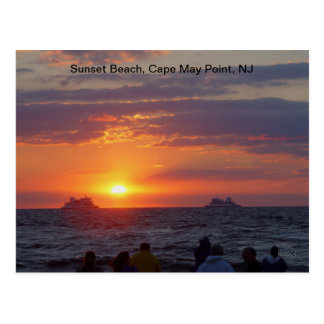 Ships Passing Fall Sunset at Cape May, NJ Postcard