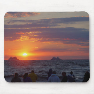 Ships Passing Under Fall Sunset Mousepad