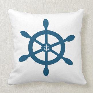 Ships wheel and anchor riversible design on each throw pillow