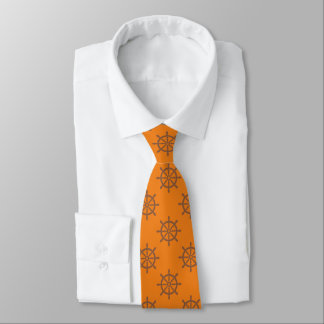 Ships Wheel Nautical Pattern Retro Orange Tie