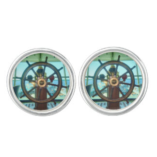 Ship's Wheel on Sovereign Class Ship Round Cuff Links