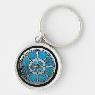 Ship's Wheel or Helm Stained Glass Keychain