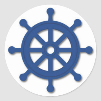 Ship's Wheel Round Sticker