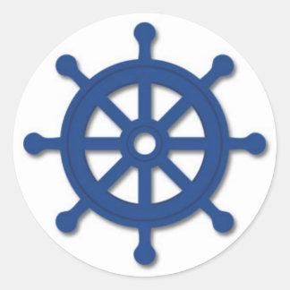 Ship's Wheel Round Sticker
