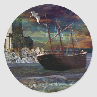 Shipwreck at Pixie Cove Round Sticker