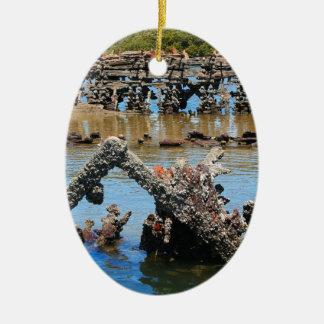 Shipwreck in the mangroves ceramic ornament