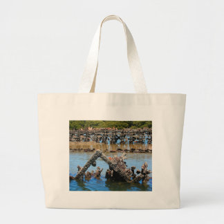 Shipwreck in the mangroves large tote bag