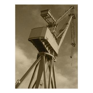 Shipyard Crane in Sepia Invitation