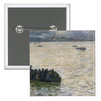 Shipyard Workers Returning Home on the Elbe 15 Cm Square Badge