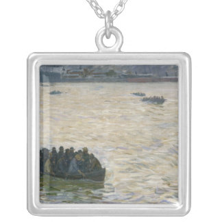 Shipyard Workers Returning Home on the Elbe Silver Plated Necklace
