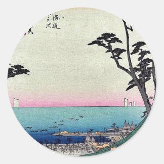 Shirasuka by Ando, Hiroshige Ukiyoe Classic Round Sticker