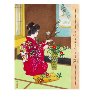 Shiro Kasamatsu Ikebana japan flowers lady scene Postcard