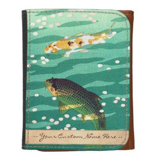 Shiro Kasamatsu Karp Koi fish pond japanese art Leather Wallets