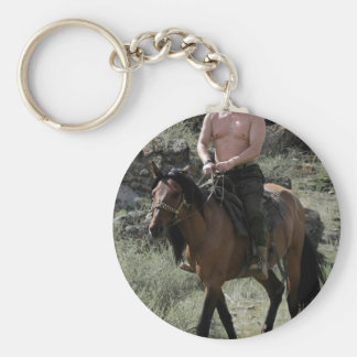 Shirtless Putin Rides a Horse Basic Round Button Key Ring