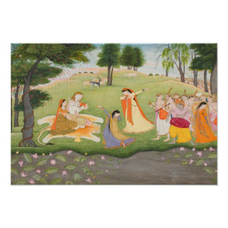 Shiva and Parvati Miniature Painting Poster