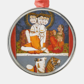 "Shiva and the ""Holy Family"" Silver-Colored Round Decoration"