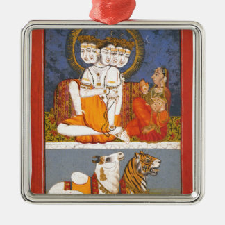 "Shiva and the ""Holy Family"" Silver-Colored Square Decoration"
