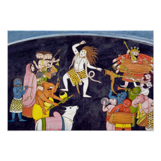 Shiva Dancing Indian Painting Poster