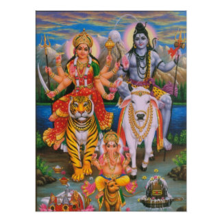 Shiva Parvati Ganesha Poster