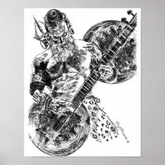Shiva Playing Sitar Poster