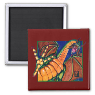 Shivan Dragon Square Magnet