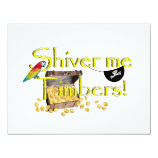 SHIVER ME TIMBERS! - Text w/Pirate Chest 11 Cm X 14 Cm Invitation Card