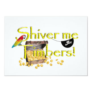 SHIVER ME TIMBERS! - Text w/Pirate Chest 13 Cm X 18 Cm Invitation Card