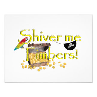 SHIVER ME TIMBERS - Text w Pirate Chest Custom Invitations
