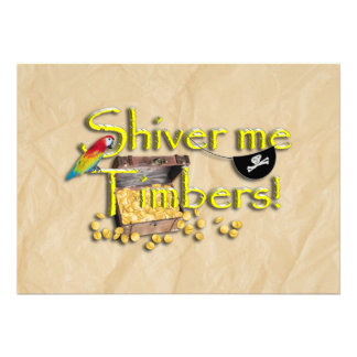 SHIVER ME TIMBERS Text with Pirate Chest Custom Invitations