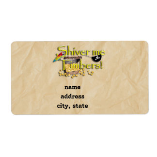 SHIVER ME TIMBERS! Text with Pirate Chest Shipping Label