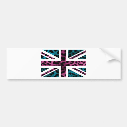 Shock Pink Leopard Pattern Jack British(UK) Flag Bumper Stickers